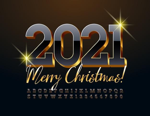 С рождеством 2021 года. роскошный черно-золотой шрифт. набор 3d букв алфавита и цифр