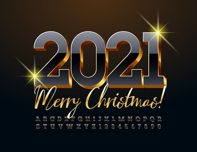 Merry christmas 2021. luxury black and gold font. 3d alphabet letters and numbers set