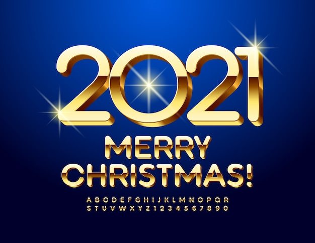 Merry christmas 2021. luxury gold font. elegant alphabet letters and numbers set.