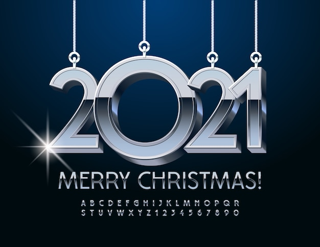 Merry christmas 2021. metallic silver font. chrome alphabet letters and numbers