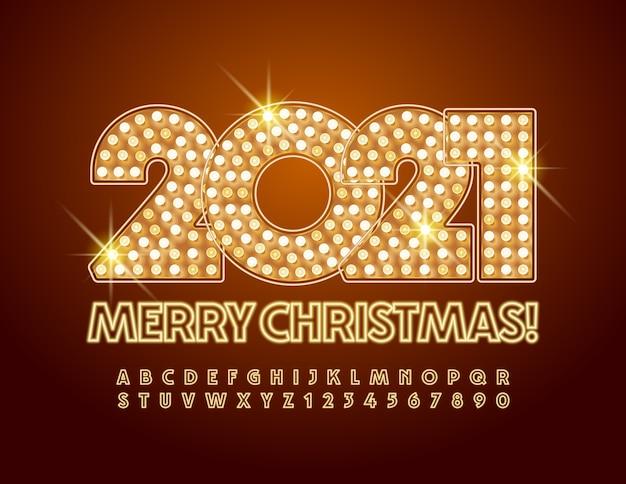メリークリスマス2021年。ネオンアルファベットの文字と数字。輝くフォント