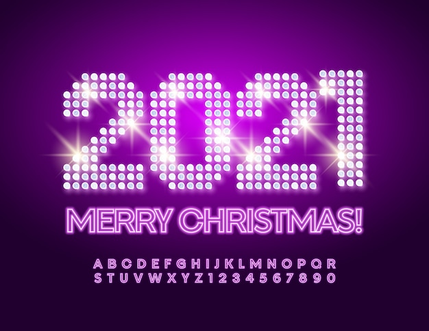 Merry christmas 2021. neon alphabet set of letters and numbers. bright font