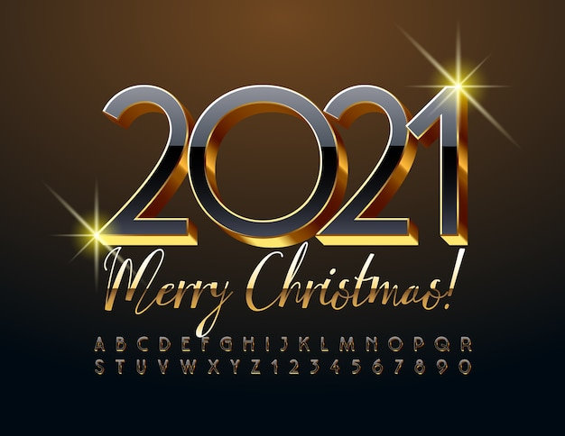 Merry christmas 2021. shiny black and gold font. 3d elite alphabet letters and numbers set