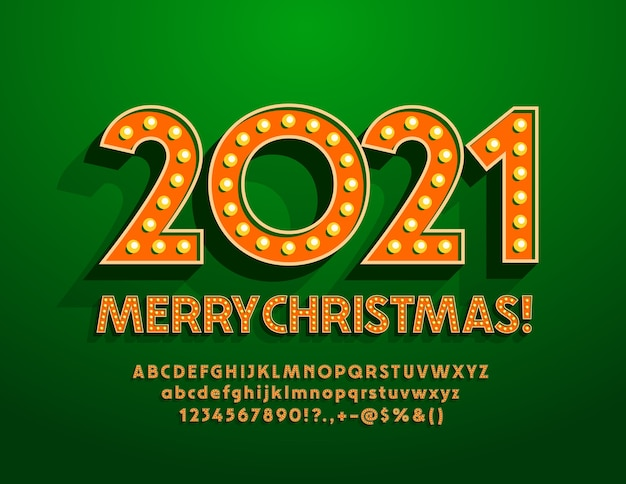 Счастливого рождества 2021 года. винтажная лампа шрифт. ретро буквы алфавита и цифры