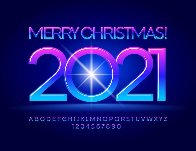 Merry christmas 2021 with gradient color font. alphabet letters and numbers set