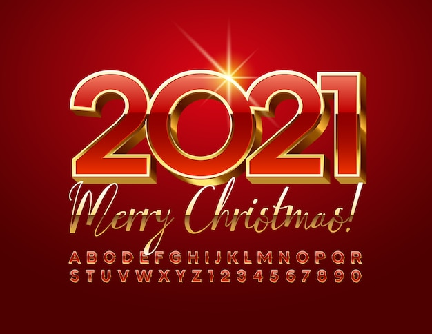 Merry christmas 2021 with red and gold 3d font. luxury alphabet letters and numbers