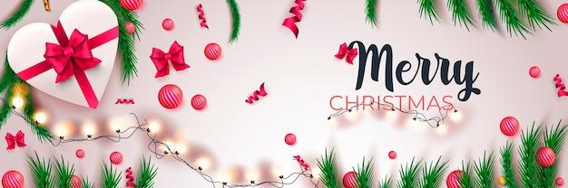 Счастливого рождества 2022 года баннер концепция праздника с праздничным декором на белом фоне