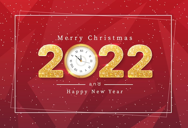 Merry christmas and 2022 happy new year greeting background