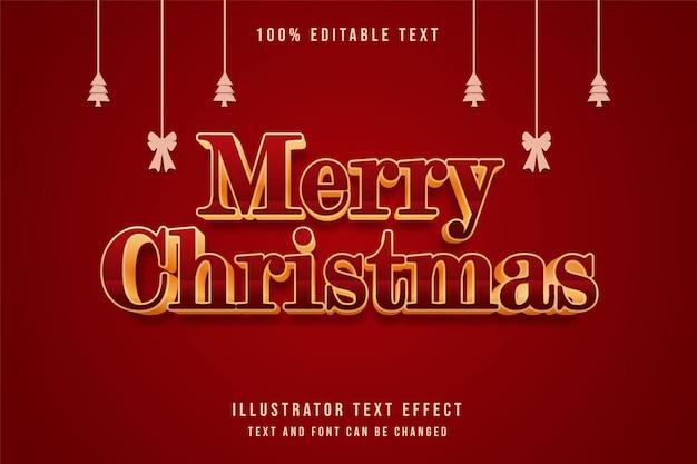 메리 크리스마스, 3d 편집 가능한 텍스트 효과 빨간색 그라데이션 옐로우 골드 텍스트 스타일