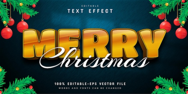 Merry christmas 3d gold text effect