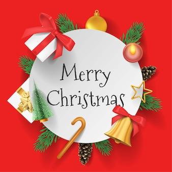 メリークリスマス3d赤い背景