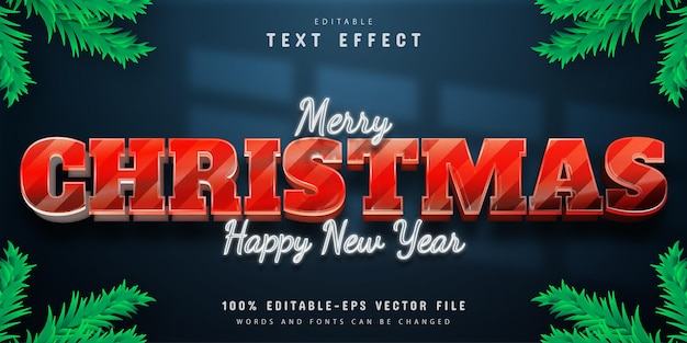 Merry christmas 3d red text effect