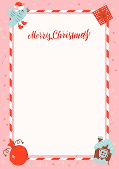Merry christmas a4 size frame with gingerbread house and xmas gifts on pink background with free space for text