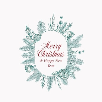 Merry christmas abstract botanical logo or card with oval frame banner and modern typography hand dr...