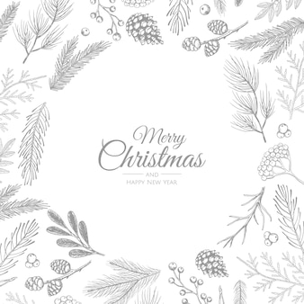 Merry christmas abstract card with frame. xmas sale, holiday web banner.
