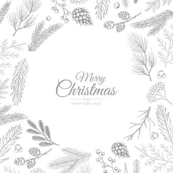 フレーム付きメリークリスマス抽象カード。クリスマスセール、ホリデーウェブバナー。