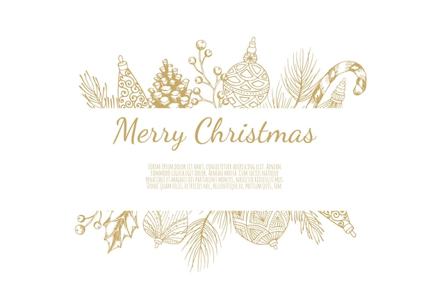 フレーム付きメリークリスマス抽象カード