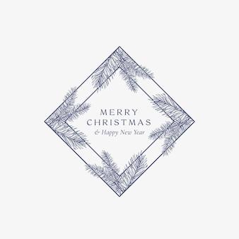 メリークリスマス抽象カード菱形フレーム付きボタニカルカード
