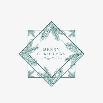 メリークリスマス抽象カード正方形フレーム付きボタニカルカード