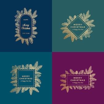 メリークリスマス抽象カード植物カードまたはフレームバナーコレクション。プレミアムカラーの背景と手描きの松の小枝、ホリー、ヤドリギゴールデングリーティングスケッチレイアウトセット。ホリデーエンブレムバンドル。
