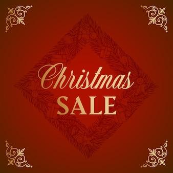 メリークリスマス抽象的なベクトルレトロなラベル記号またはカードテンプレート手描きのひし形の松の花輪ske ...