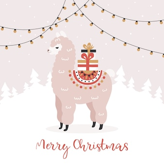 Merry christmas, alpaca with gift boxes.