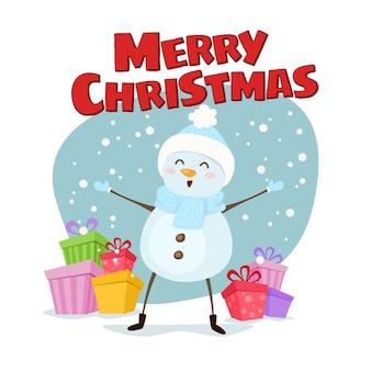 メリークリスマスと新年あけましておめでとうございますかわいいイラスト。贈り物を持った幸せな雪だるまは、メリークリスマスを願っています。