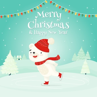 기쁜 성탄과 새해 복 많이 받으세요. 겨울 풍경의 배경에 귀여운 화이트 베어 아이스 스케이팅.