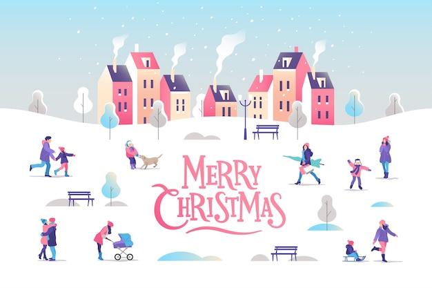 Поздравительная открытка с рождеством и новым годом. городской пейзаж с людьми.