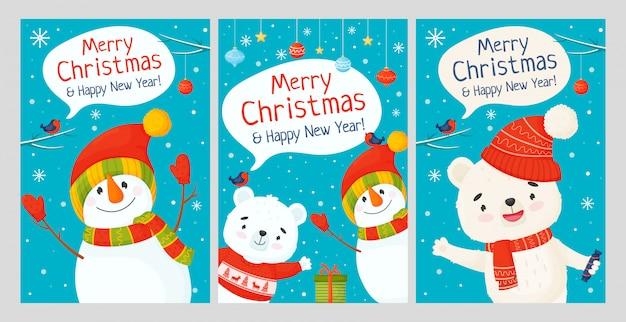 Веселого рождества и счастливого нового года. набор поздравительных открыток с милыми персонажами.