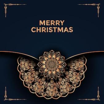 メリークリスマスと装飾的な曼荼羅デザインプレミアムベクトルの背景