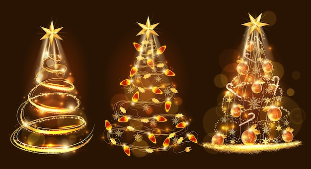 메리 크리스마스와 장식으로 만든 황금 크리스마스 트리
