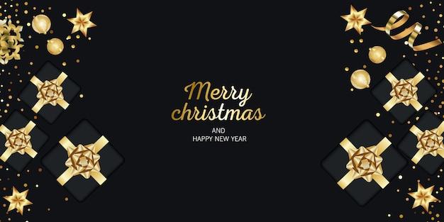 Веселого рождества и счастливых праздников баннер. подарки вид сверху.