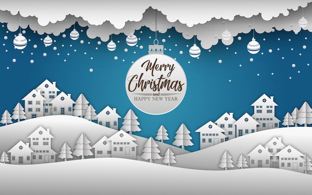 メリークリスマスと新年あけましておめでとうございます2019と雪の青い背景