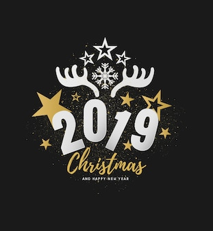 Merry christmas and happy new year 2019 vector design