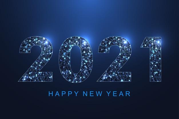 メリークリスマスと新年あけましておめでとうございます2021年の背景。未来的な2021年。