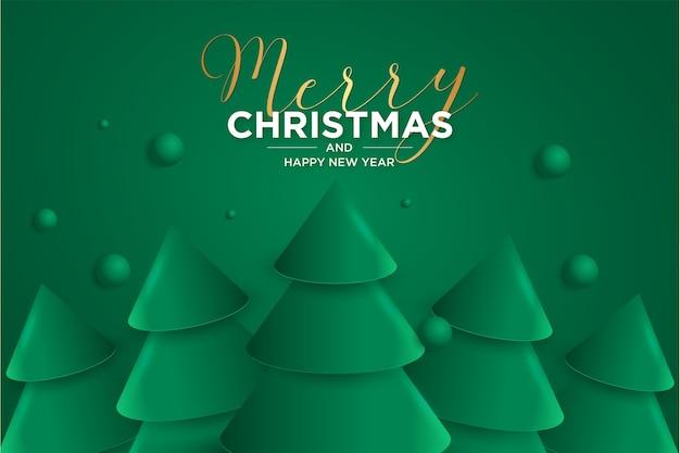 우아한 3d 크리스마스 트리와 메리 크리스마스와 해피 뉴 2021 카드