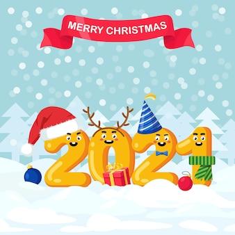 С рождеством и новым годом 2021 цифры в шапке санта-клауса