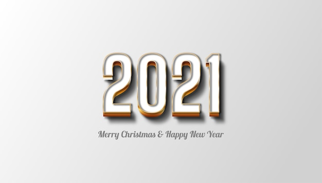 메리 크리스마스와 새해 복 많이 받으세요 2021 흰색과 금색 텍스트