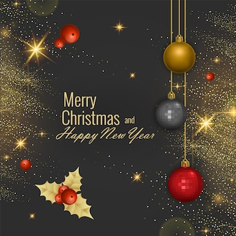メリークリスマスとハッピーニューイヤー2022グリーティングカード