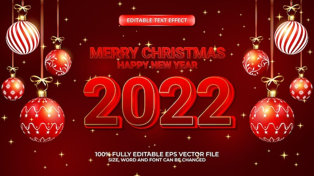 기쁜 성탄과 새해 복 많이 받으세요 2022 빨간색 굵은 텍스트 효과