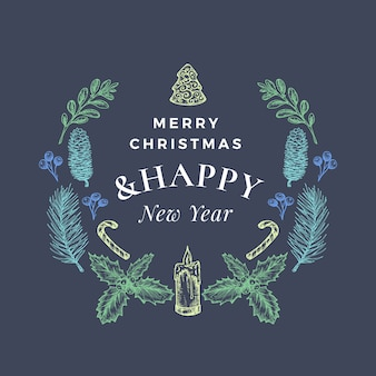 メリークリスマスと新年あけましておめでとうございます抽象的なグリーティングカードまたはバナーのクリスマスリースとレトロなタイポグラフィ