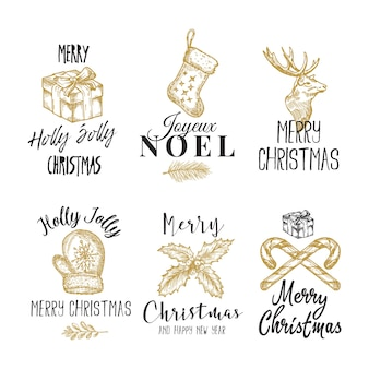Веселого рождества и счастливого нового года абстрактные знаки, этикетки или набор шаблонов логотипов