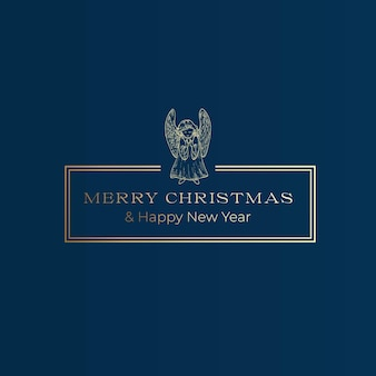 メリークリスマスと新年あけましておめでとうございます抽象的なベクトル上品なフレームラベルサインまたはカードテンプレートハンドドラ...