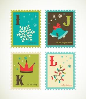 С рождеством и новым годом алфавит. коллекция шаблонов для поздравительной открытки, баннера или плаката