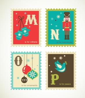 メリークリスマスと新年あけましておめでとうございますアルファベット。グリーティングカード、バナーまたはポスターのテンプレートコレクション