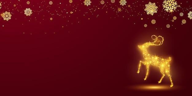メリークリスマスと新年あけましておめでとうございますの背景。鹿のボケ味とお祝いの背景テンプレート。豪華な挨拶リッチカード。