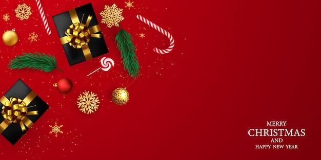 기쁜 성 탄과 새 해 복 많이 받으세요 배경입니다. 리본 축 하 배경 템플릿입니다. 고급 인사말 풍부한 카드.