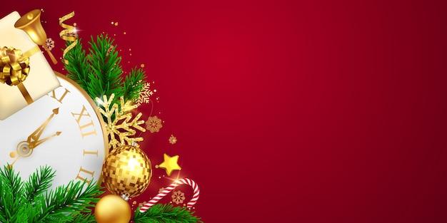 メリークリスマスと新年あけましておめでとうございますの背景。リボン付きのお祝いの背景テンプレート。豪華な挨拶リッチカード。