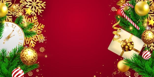 メリークリスマスと新年あけましておめでとうございますの背景。お祝いの背景